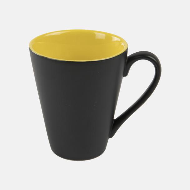 Gul / Svart Kaffemuggar med färgad insida