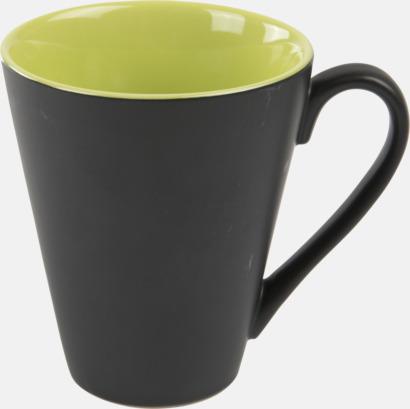 Limegrön / Svart Kaffemuggar med färgad insida