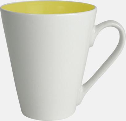 Gul / Vit Kaffemuggar med färgad insida