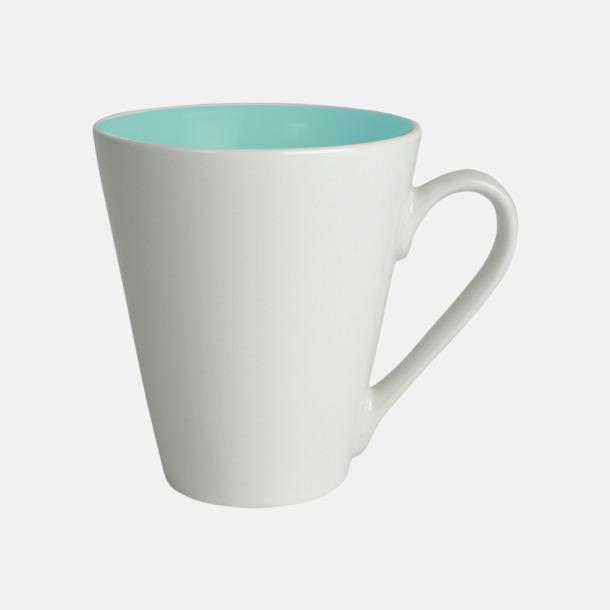 Turkos / Vit Kaffemuggar med färgad insida