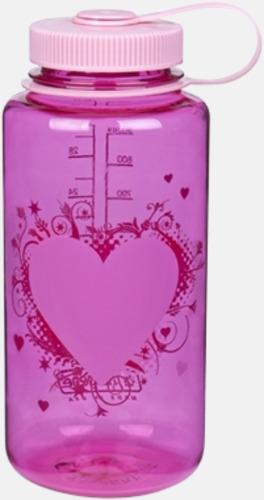 Rosa med hjärta (1 l) Färgglada vattenflaskor med eget tryck