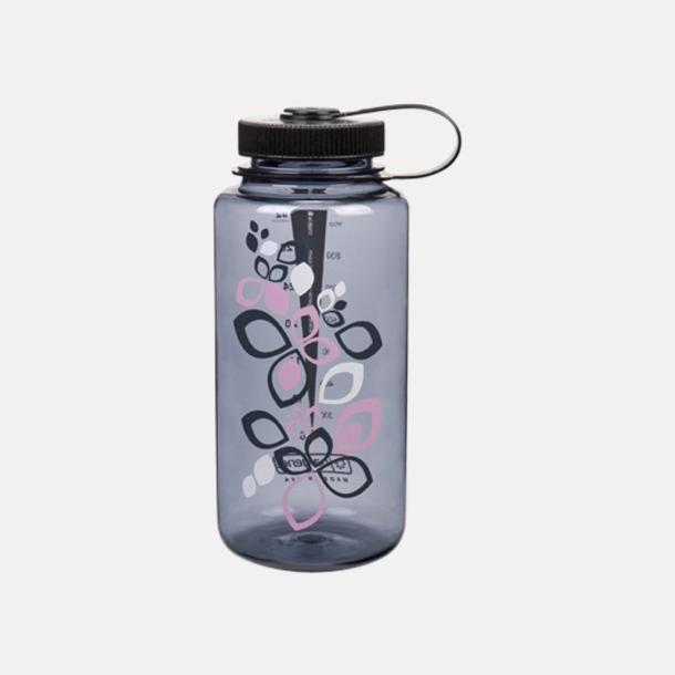 Grå med blommor (1 l) Färgglada vattenflaskor med eget tryck