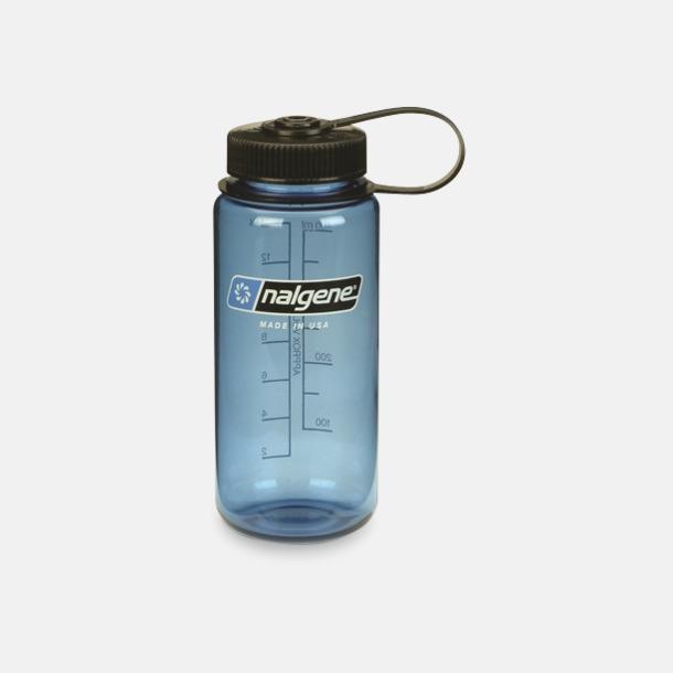Blå/Svart (0,5 l) Färgglada vattenflaskor med eget tryck