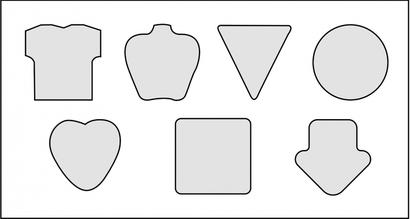 Standardformer (små) Självhäftande block i många former