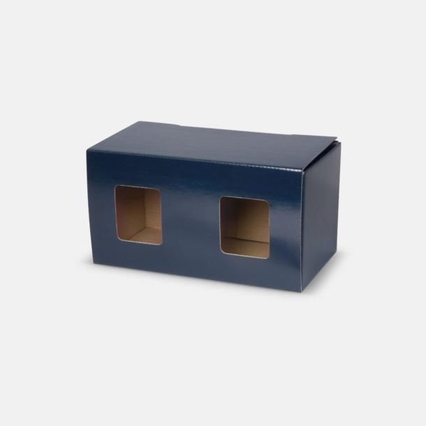 2-pack (blå) Stengodsmuggar med reklamtryck