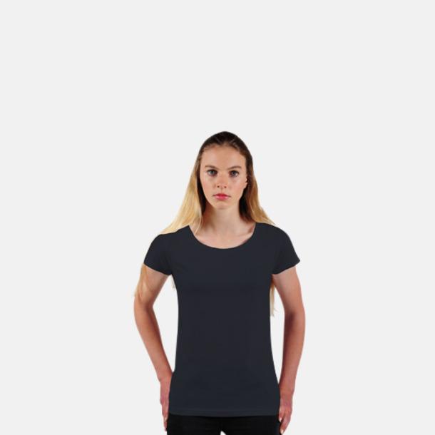 Svart Eko dam t-shirts i Fairtrade-bomull med reklamtryck