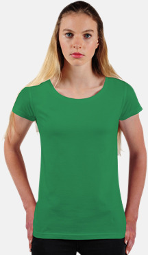 Kelly Green Eko dam t-shirts i Fairtrade-bomull med reklamtryck