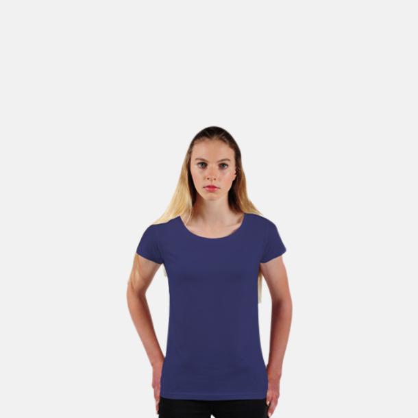 Marinblå Eko dam t-shirts i Fairtrade-bomull med reklamtryck
