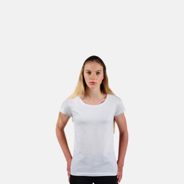 Vit Eko dam t-shirts i Fairtrade-bomull med reklamtryck