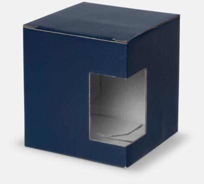 1-pack (blå) Cylinderformade porslinsmuggar med reklamtryck