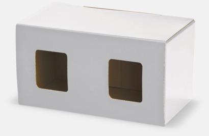 2-pack (vit) Cylinderformade porslinsmuggar med reklamtryck