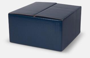 4-pack (blå) Cylinderformade porslinsmuggar med reklamtryck
