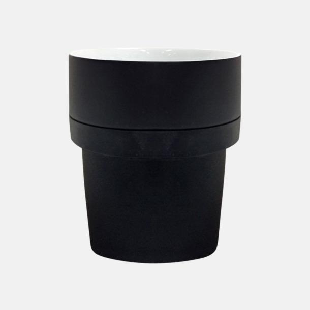 Svart/Vit (silikon) Megara kaffemugg med reklamtryck