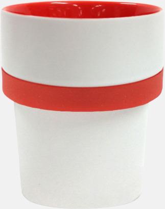 Vit / Röd Megara kaffemugg med reklamtryck