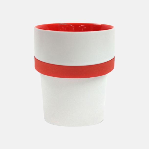Vit/Röd (silikon) Megara kaffemugg med reklamtryck
