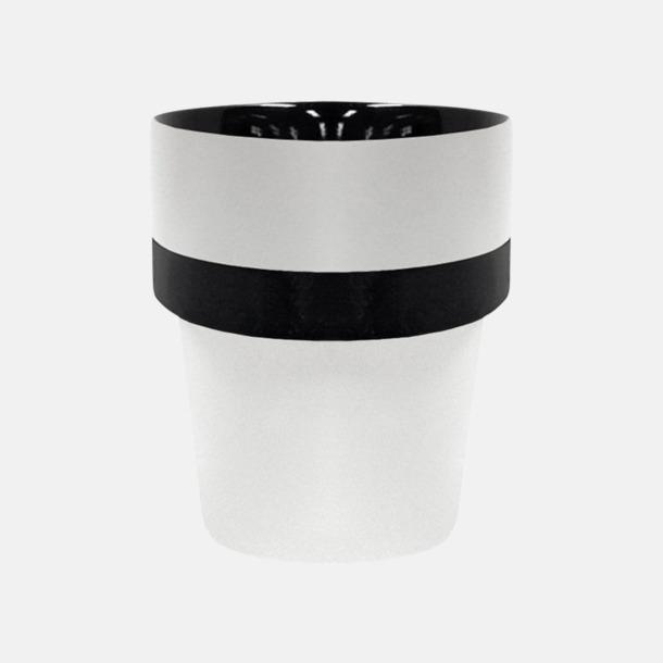 Vit/Svart (silikon) Megara kaffemugg med reklamtryck