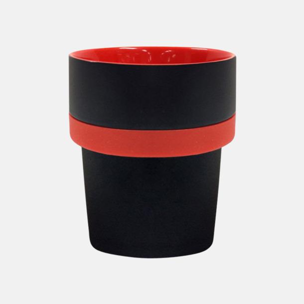 Svart / Röd Megara kaffemugg med reklamtryck