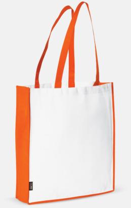 Vit / Orange Miljövänlig bärkasse med eget tryck