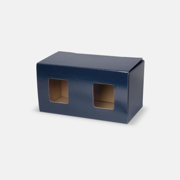 2-pack (blå) Moderna porslinsmuggar med reklamtryck