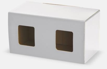 2-pack (vit) Moderna porslinsmuggar med reklamtryck