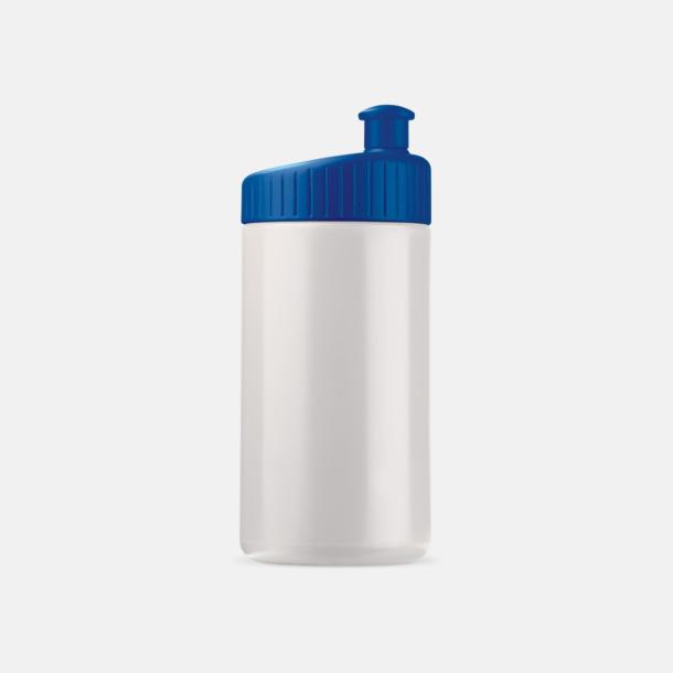 Vit/Mörkblå (50 cl) Vattenflaskor i 2 storlekar med reklamtryck