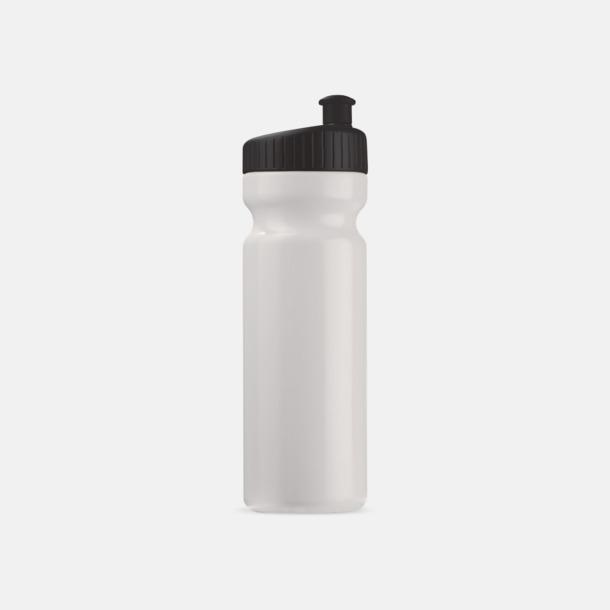 Vit/Svart (75 cl) Vattenflaskor i 2 storlekar med reklamtryck