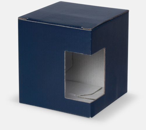 1-pack (blå) Stapelbara porslinsmuggar med reklamtryck