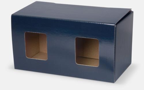 2-pack (blå) Stapelbara porslinsmuggar med reklamtryck