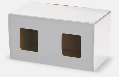 2-pack (vit) Stapelbara porslinsmuggar med reklamtryck