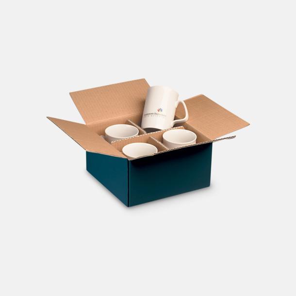 4-pack (blå) Stapelbara porslinsmuggar med reklamtryck