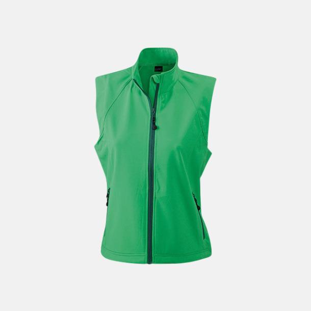 Grön (dam) Softshell-västar i dam- & herrmodell med reklamtryck