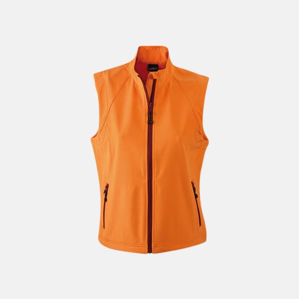 Orange (dam) Softshell-västar i dam- & herrmodell med reklamtryck