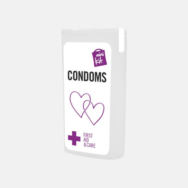 Vit MiniKit kondomer i ask med egen logga