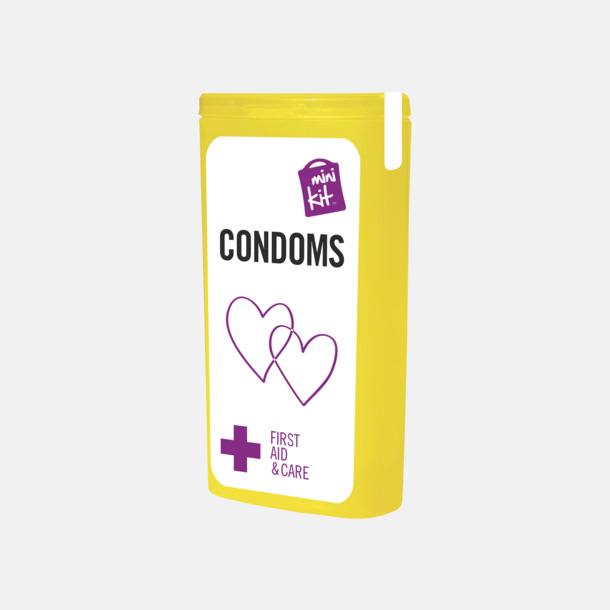 Gul MiniKit kondomer i ask med egen logga