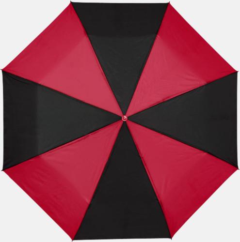 Svart / Röd Randiga kompaktparaplyer med reklamtryck