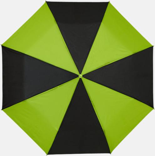 Svart/Grön Randiga kompaktparaplyer med reklamtryck