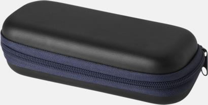 Fodral (mörkblå) Billiga kompaktparaplyer i fodral med reklamtryck