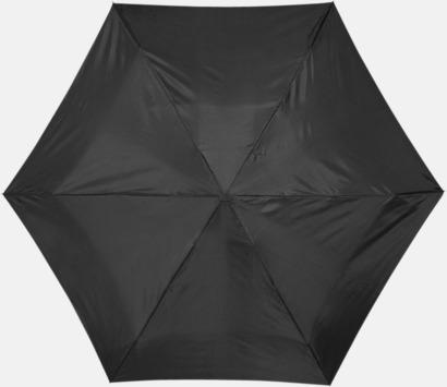 Svart Billiga kompaktparaplyer i fodral med reklamtryck