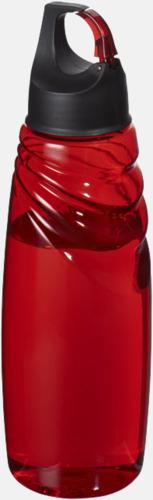 Röd Vattenflaskor med karbinhake i locket - med reklamtryck