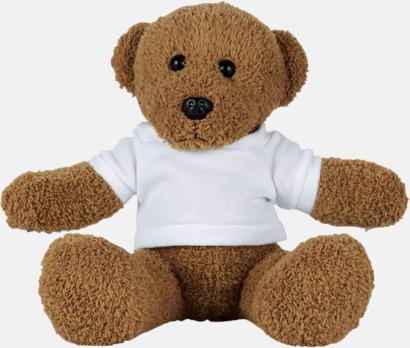 Klassiska teddybjörnar i t-shirts med reklamtryck