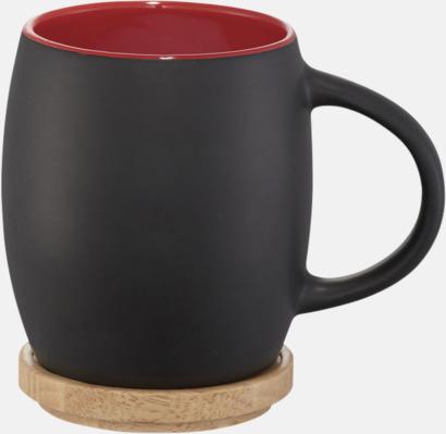 Svart / Röd Muggar med lock/fat - med reklamtryck
