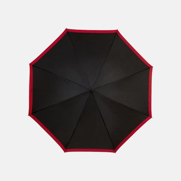 Svart / Röd Automatiska paraplyer med färgrand med reklamtryck