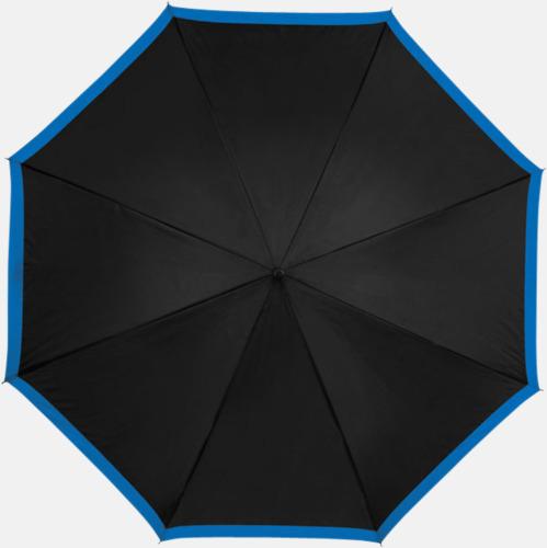 Svart/Processblå Automatiska paraplyer med färgrand med reklamtryck