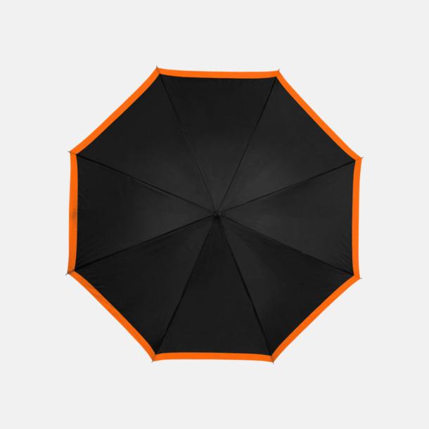 Svart / Orange Automatiska paraplyer med färgrand med reklamtryck
