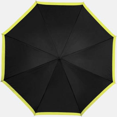 Svart/Neongrön Automatiska paraplyer med färgrand med reklamtryck