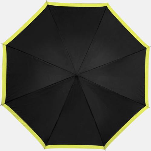 Svart/Gul Automatiska paraplyer med färgrand med reklamtryck