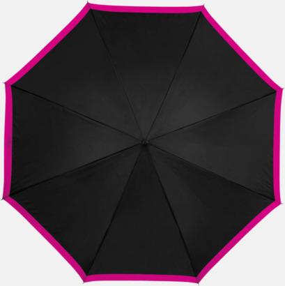 Svart / Magenta Automatiska paraplyer med färgrand med reklamtryck