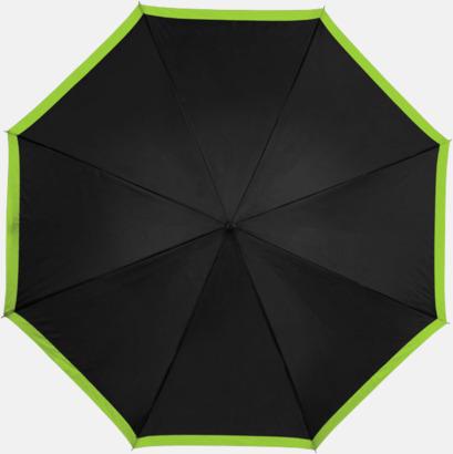 Svart / Limegrön Automatiska paraplyer med färgrand med reklamtryck