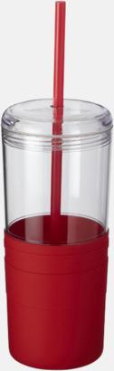 Röd 65 cl-glas med sugrör - med reklamtryck