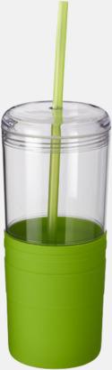 Limegrön 65 cl-glas med sugrör - med reklamtryck